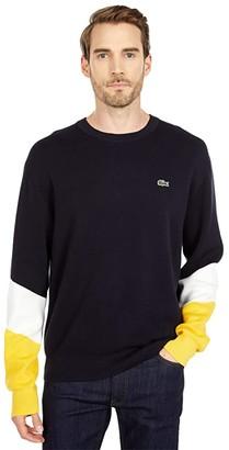 Lacoste Long Sleeve Color-Blocked Double Face Crew Neck Sweater (Sinople/Flour/Black) Men's Clothing