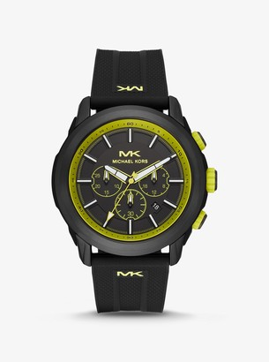 Michael Kors Oversized Kyle Black-Tone and Silicone Watch