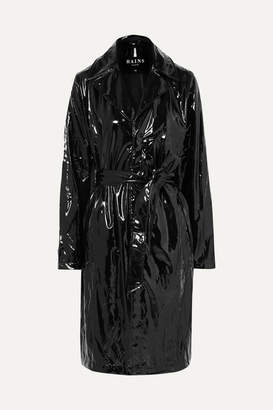 Rains Glossed-pu Trench Coat - Black