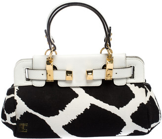 Roberto Cavalli Black/White Printed Canvas and Leather Satchel