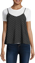 Self Esteem Short-Sleeve Polka Dot Layered Top - Juniors