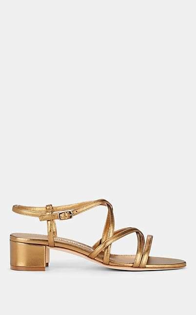 Manolo Blahnik Women's Atrita Metallic Leather Sandals - Gold