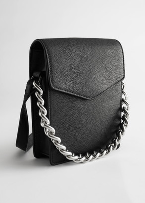 And other stories Chunky Chain Leather Envelope Bag