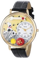 Whimsical Watches Dalmatian Black Skin Leather and Goldtone Unisex Quartz Watch with White Dial Analogue Display and Multicolour Leather Strap G-0130031