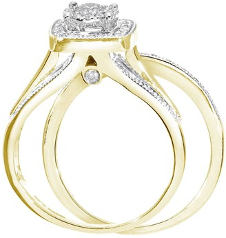 9ctYellow Gold 50 Point Diamond Square Set Split Shoulder Bridal Set Of Two Rings