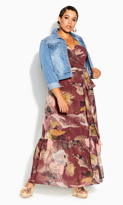 City Chic Tropical Heat Maxi Dress - maroon