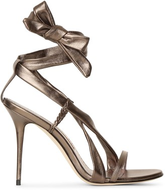 Manolo Blahnik Tor 105 bronze strappy sandals