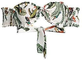 PatBO Women's Shirred Tropical-Print Bikini Top