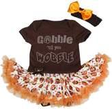 Petitebella Thanksgiving Baby Dress Gobble Til Wobble Bodysuit Turkey Girl Tutu Nb-18m