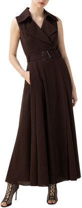 Akris Belted Sleeveless Wool Long Shift Dress