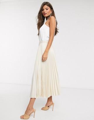Closet London pleated skirt in ecru