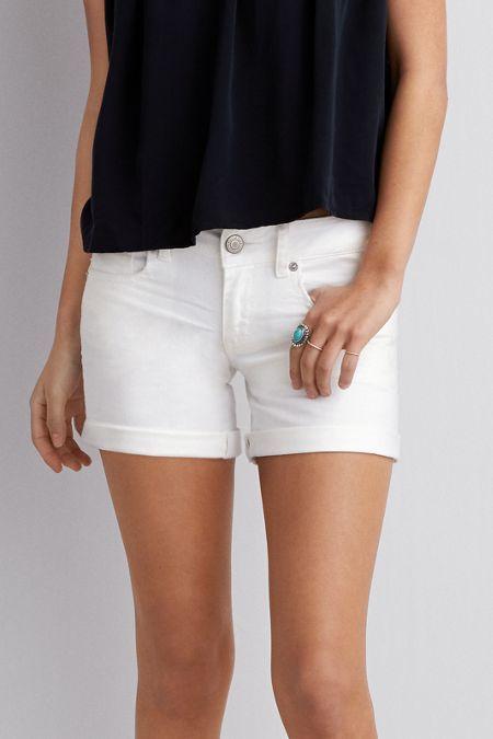 American Eagle Outfitters White White Denim Midi Shorts