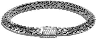 John Hardy Tiga Chain Bracelet w/ Diamond Clasp, Size S-L