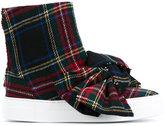 Joshua Sanders Tartan Wool High-Top Sneakers with Bow - women - Leather/Wool/rubber - 36