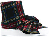 Joshua Sanders Tartan Wool High-Top Sneakers with Bow - women - Leather/Wool/rubber - 38