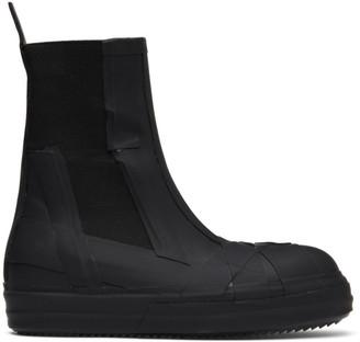 Rick Owens Black Rubber Bozo Chelsea Boots