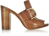 Michael Kors Cooper Luggage Nappa Leather High Heel Mules