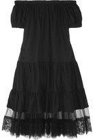 I.D. Sarrieri Summertime Off-the-shoulder Lace-paneled Cotton-blend Dress - Black