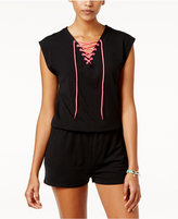 Material Girl Active Juniors' Lace-Up Romper, Only at Macy's