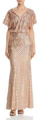Aqua Sequined Blouson Gown - 100% Exclusive