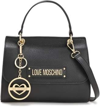 Love Moschino Logo-embellished Textured-leather Shoulder Bag