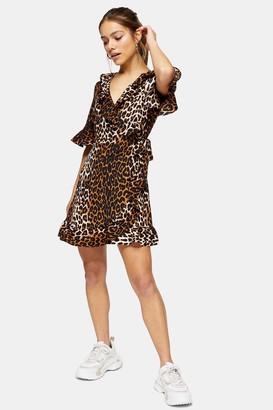 Topshop PETITE Animal Print Ruffle Wrap Dress