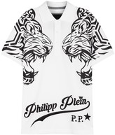 Philipp Plein Lost Tiger-print Cotton Polo Shirt