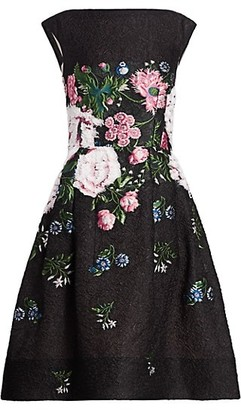 Oscar de la Renta Sleeveless Floral Cocktail Dress
