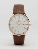 Asos Watch With Brushed Face and Leather Strap