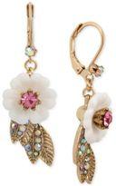 Betsey Johnson Gold-Tone Crystal Flower Drop Earrings