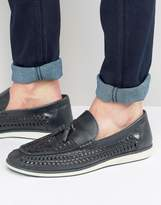 Red Tape Woven Tassel Loafers In Blue Leather