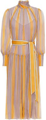 Zimmermann Belted Striped Silk-crepon Midi Dress