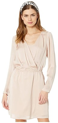 BCBGMAXAZRIA Drape Front Dress (Bare Pink) Women's Dress