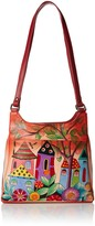 Anuschka Anna By Anna by Genuine Leather Triple Compartment Satchel | Hand Painted Original Artwork | Village of Dreams