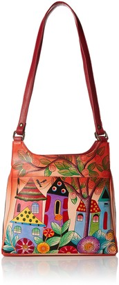 Anuschka Anna by Genuine Leather Triple Compartment Satchel | Hand Painted Original Artwork | Village of Dreams