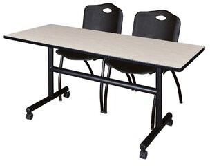 """BEIGE Vaughn Flip Top Mobile Training Table with Wheels Symple Stuff Size: 29"""" H x 48"""" W x 30"""" D, Tabletop Finish: Beige, Chair Finish: Black"""