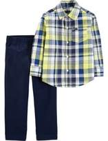 Carter#39;S carter's Newborn 2-Piece Plaid Shirt and Chino Pants Set in Yellow/Blue