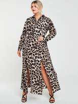 AX Paris Curve Printed Maxi Shirt Dress -Leopard