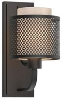 Home Decorators Collection 1-Light Bronze Mesh Wall Sconce with Inner Cream Fabric Shade