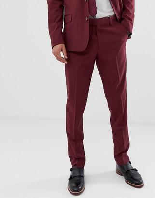 ASOS DESIGN skinny suit pants in burgundy