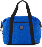 Nicole Miller City Life Quilted Large Duffle Bag, Azure Blue/Black