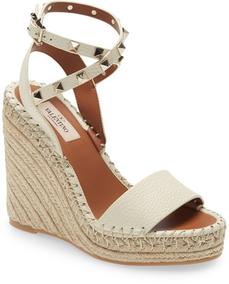 Valentino Rockstud Double Strap Espadrille Wedge Sandal
