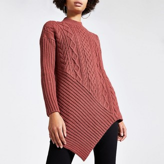 River Island Pink asymmetric cable knitted jumper