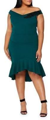 Bardot Quiz Curve Plus Frill Knee-Length Sheath Dress