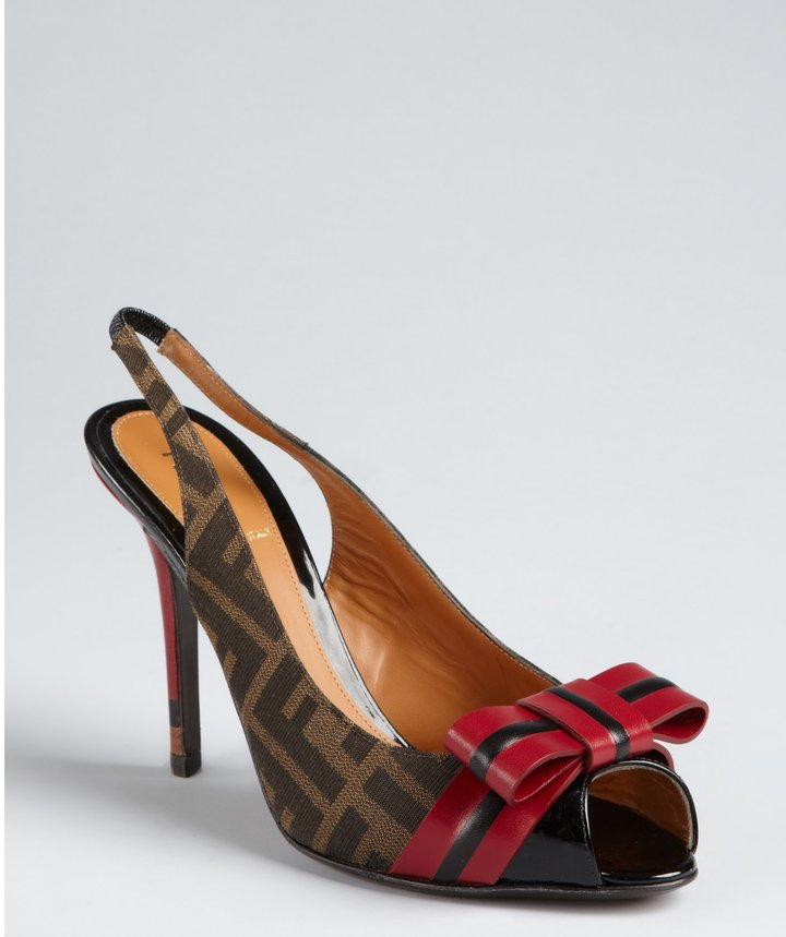 Fendi Tobacco Zucca Canvas And Red Leather Bow Slingback Pumps