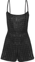 Valentino Swarovski Crystal-embellished Leather And Tulle Playsuit - Black