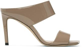 Jimmy Choo Pink Patent Hira 85 Sandals