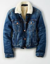 American Eagle Outfitters AE Faux-Sherpa-Lined Denim Jacket