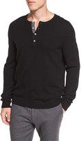 Vince Cashmere Long-Sleeve Henley Sweater, Black
