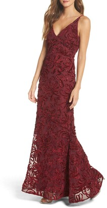 Xscape Evenings Women's Long Velvet Soutache Dress